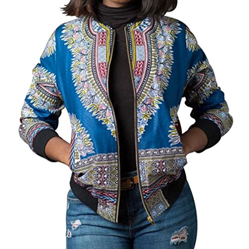 - Kulywon Women African Print Long Sleeve Dashiki Short Jacket (M, Blue)