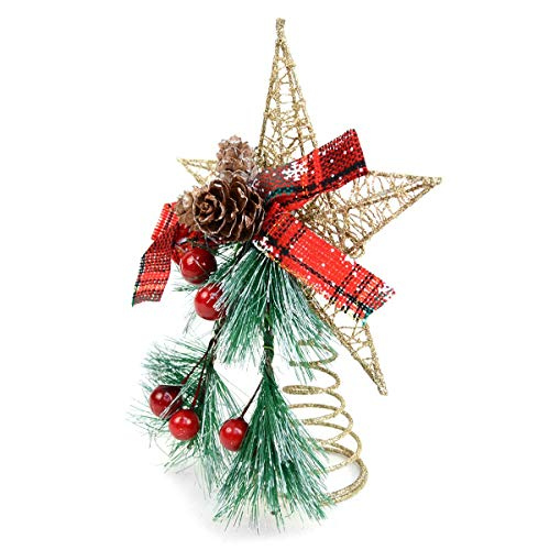 (BG Festive Holiday Winter Mistletoe and Gold Star Christmas Tree Topper Wire 8