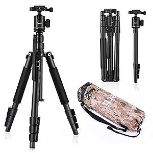 Camera Tripod Zecti 55 inch Aluminum Travel Tripod and Monopod for Dslr Digital Cameras Video GoPro Nikon Canon Sony