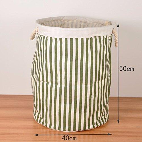 Luckyfree Panier à linge en coton d'vêtements sales jouets Panier paniers, de stockage des débris snack-bars Vertical vert