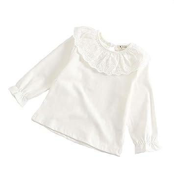 cf19ad8bc9abb ZooArts ベビー服 Tシャツ 女の子 長袖 無地 コットン ボトムシャツ パジャマ 肌着 可愛い襟 シンプル オシャレ