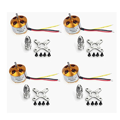 QWinOut A2212 1000KV Brushless Outrunner Motor 13T for RC DIY Aircraft Multi-Copter Quadcopter Drone (4pcs)