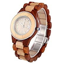 BEWELL Women Natural Wood Quartz Watch with Luminous Pointer Analog Date Display (Red Sandalwood) W116C Male Wooden Quartz Watch with Luminous Pointer Date Display Roman Numerals Scale Wristwatch (Maple with Red Sandal)
