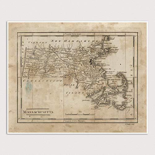 Old Massachusetts Map Art Print, 1816, Archival Reproduction, Unframed
