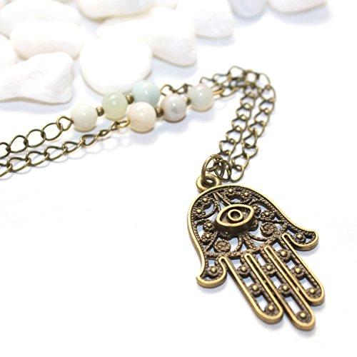 Hamsa Evil Eye Necklace - Unique Handmade Amazonite Spiritual Healing Jewelry - Made in Phoenix, AZ