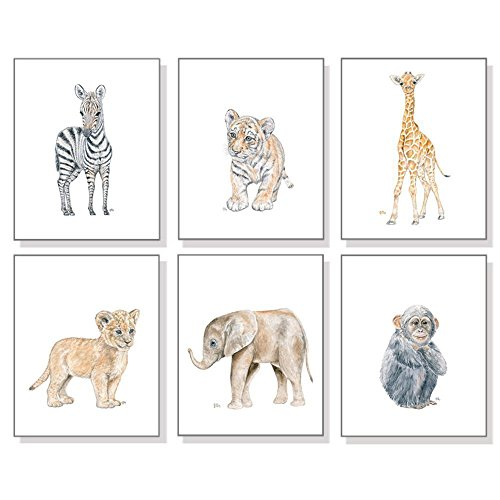 (Safari Nursery Art Prints Set of 6, Baby Animal Watercolors, Kids Room Wall Decor, Jungle Elephant Giraffe Lion Zebra Monkey Tiger)
