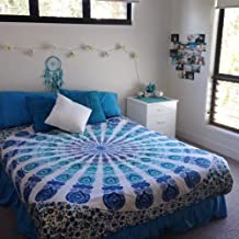 MontrealTapassier USA ON DEMAND NEW DESIGN BIG QUEEN SIZE WHITE BLUE PEACOCK DESIGN Tapestry Wall hanging kids room decor art Indian Hippie Mandala Comforter Throw Ethnic Bed spread Decor Art
