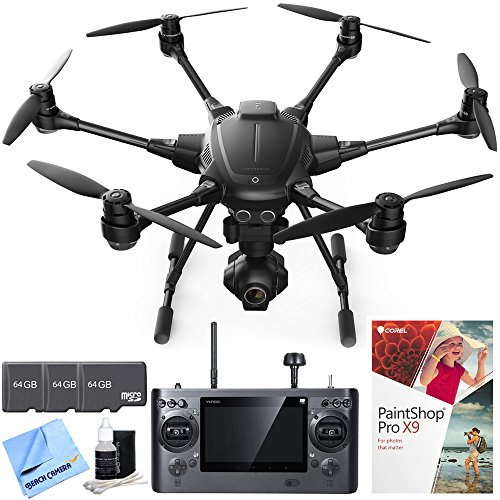 Yuneec Typhoon H RTF Hexacopter Drone with CGO3+ 4K Camera Pro Photo Bundle includes Drone, 3 64GB microSD Memory Cards, Lens Cleaning Kit, Corel PaintShop Pro X9 and Beach Camera Cloth