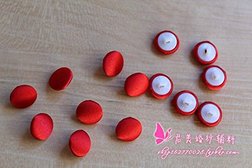 High-grade satin wedding dress back button cloth button cloth buckle handmade DIY accessories accessories red and black rice for Sewing Crafts Handmade Clothes DIY