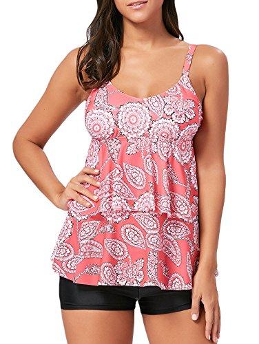 Tankini Pink Dot (Women's Two Piece Tankini Ruffle Dots Printed Swimsuits Tummy Control with Boyshort Bathing Suit Swimwear Pink Floral XL)
