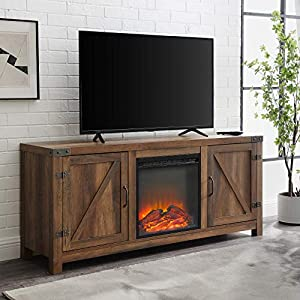Walker Edison Georgetown Modern Farmhouse Double Barn Door Fireplace TV Stand for TVs up to 65 Inches, 58 Inch, Rustic…