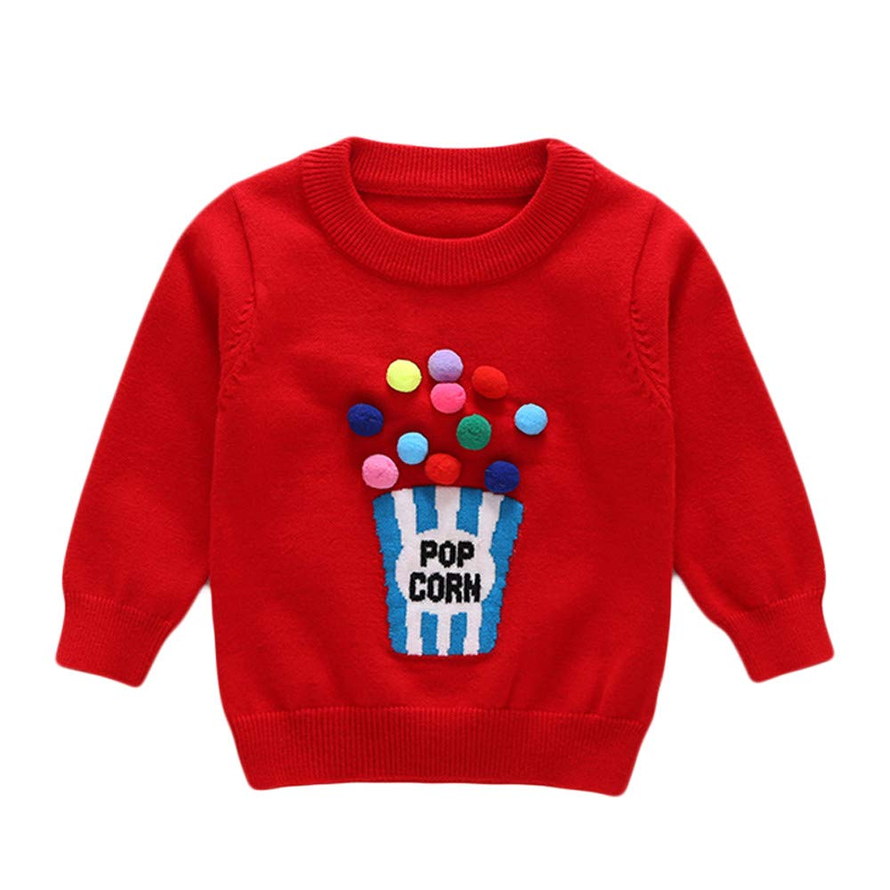 Baby Kid Top Sweater,Fineser Toddler Baby Boys Girls Kid Long Sleeves POP Corn Letter Print Sweater Sweatshirt Blouse Tops