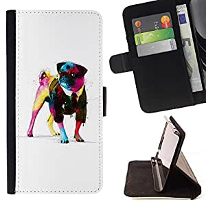 - Pug Neon Art Painting Watercolor Art Dog/ Personalized Design Custom Style PU Leather Case Wallet Flip Stand - Cao - For HUAWEI P8 Lite