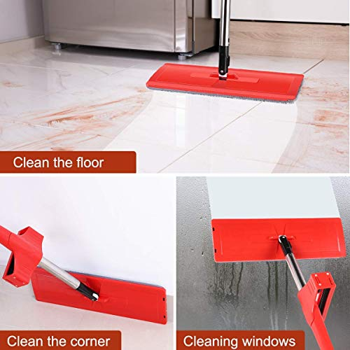 Microfiber Hardwood Floor Mop, YAMTION Lazy Flip Flat Mop 360 Spin & Easy Self Wringing Wet and Dry Flip Mop 15 Inch with Stainless Steel Handle – Red (Total of 4 Microfiber Mop Pads) by YMATION (Image #5)