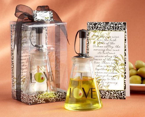 60 ''Olive You!'' Glass LOVE Oil Bottle in Signature Tuscan Boxes by Kateaspen