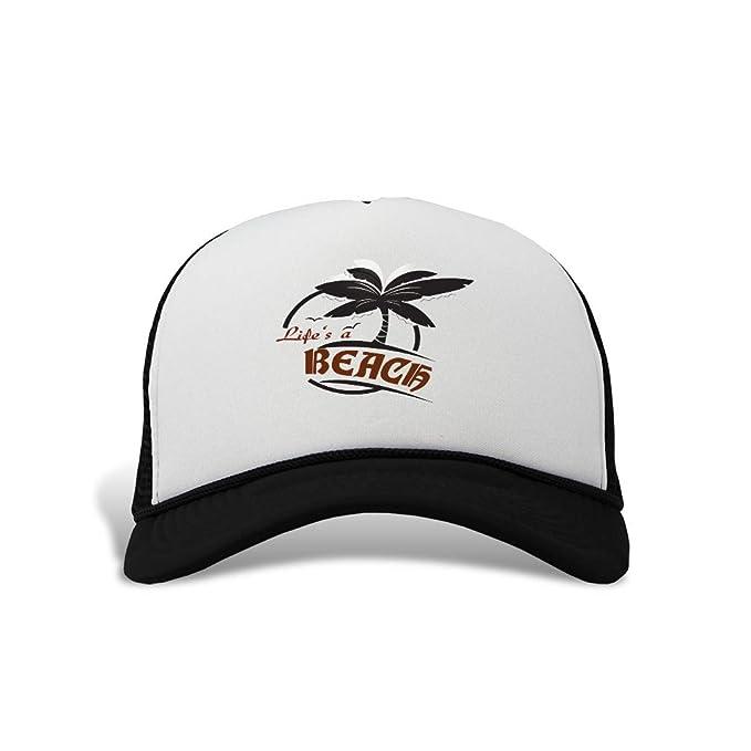 2a1ecd78f43e69 Trucker Hat Life's a Beach Polyester Baseball Mesh Cap Snaps Black One Size