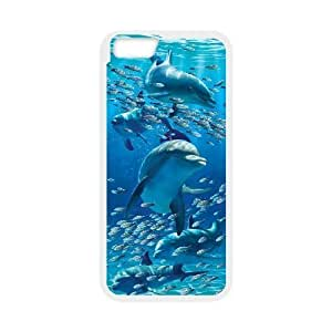 Diy Cute Dolphin Phone Case for iphone 6 Plus (5.5 inch) White Shell Phone JFLIFE(TM) [Pattern-3]