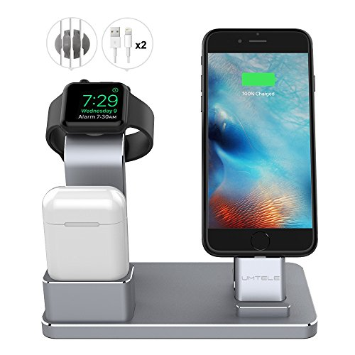 Price comparison product image UMTELE Apple Watch Stand Apple Watch Charging Stand AirPods Stand Charging Docks Holder for Apple Watch Series 3/2/1/ iPhone X/8/8Plus/7/7 Plus /6S /6S Plus/ AirPods/ iPad, Space Gray