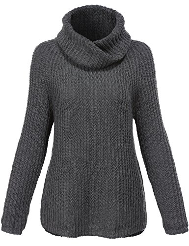 Turtle Neck Loose Fit Comfortable Sweaters 005-charcoal Grey Large