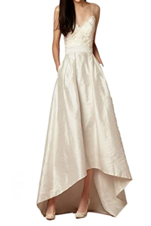 MILANO BRIDE Sexy Wedding Party Dress Evening Gown Pocket V-neck Asymmetrical-14-Ivory