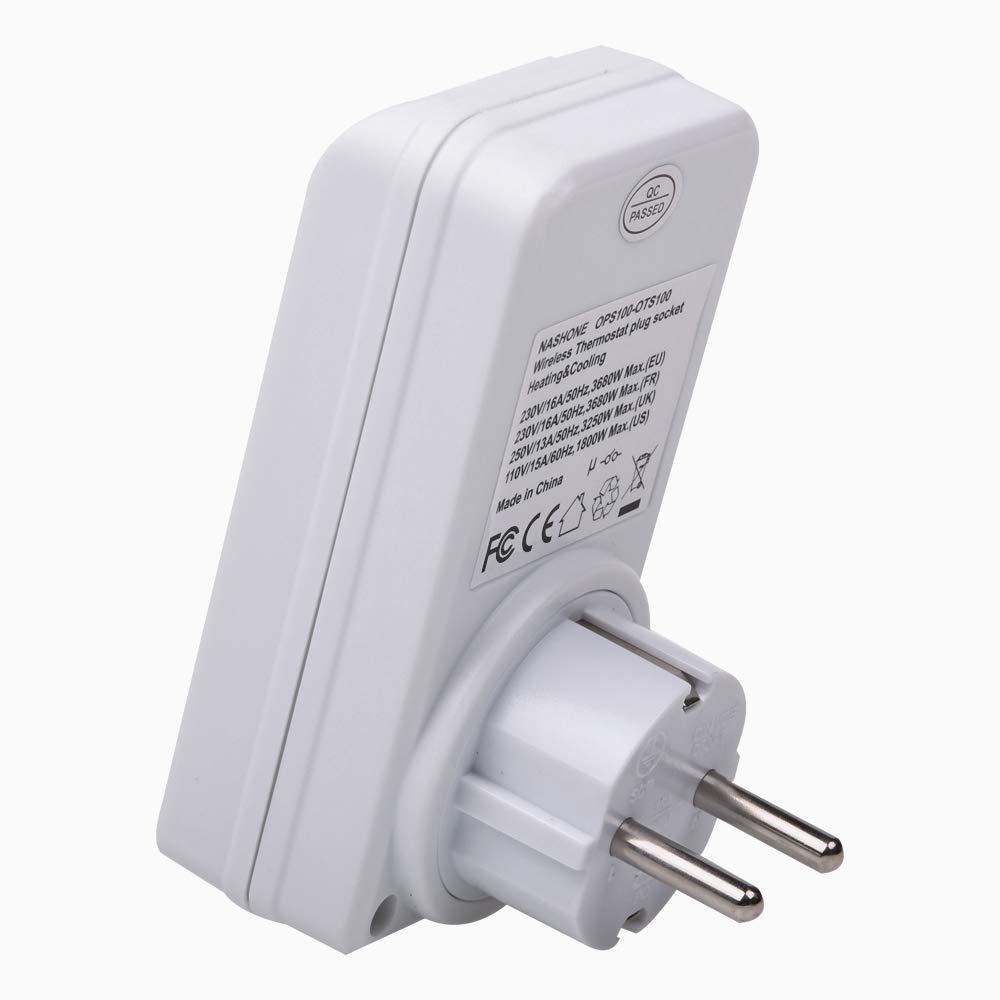 Klimager/äte 3680W NASHONE Programmierbar Wireless RF Thermostat Steckdoes mit Zeitschaltuhr Heiz- und K/ühlger/ät 2.4GHz Fernbedienung Funkthermostat f/ür Infrarotheizung
