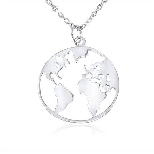 unos dias comprar online compre los más vendidos Collar Bola del Mundo plata de ley 925, mapamundi, Collar ...