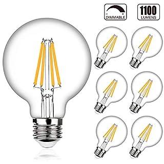 G25 LED Bulb Globe Dimmable 100W Equivalent, 1100lm, High Luminous Efficiency, 2700K Warm White, Wide Brightness Range, E26 Medium Screw Base, Edison Light Bulbs Bathroom Vanity Mirror Light, 6-Pack