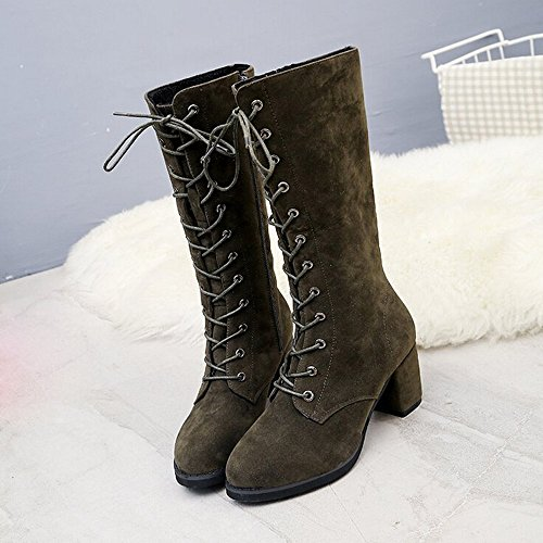 Hatop Women Boots, Womens Pointy Toe Ankle Bootie Chunky High Heel Knight Boot Shoes Army Green