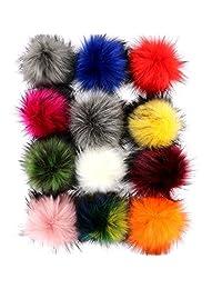"DIY 12pcs Faux Fox Fur Fluffy Pompom Ball for Knitting Hats,Bags,Keychains,Shoes,12cm(4.7"") Popular Mix Colors Set K"