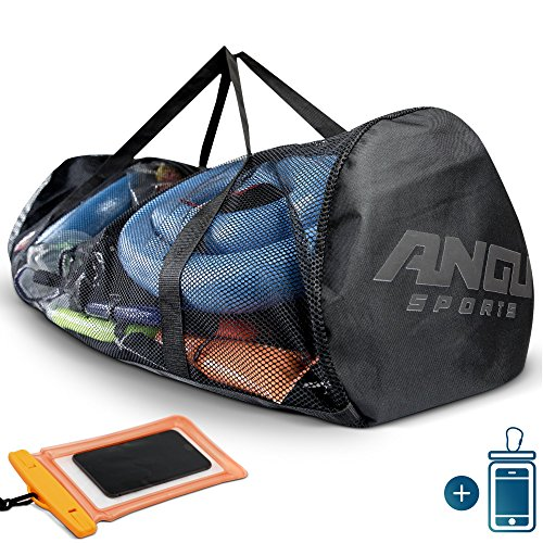 - ANGU SPORTS X-Large Mesh Duffle Gear Bag | For Scuba Diving Equipment & Gear, Diving, Fins, Snorkeling, Surfing, Swimming, Beach and Sports Equipment | Phone Pouch Included | Quality Zippers | Big Bag