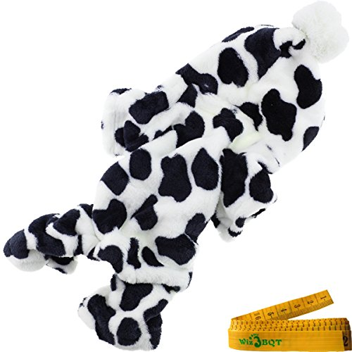 Costume Cow Xxl Dog (Cozy Cow Printed Flannel Pet Dog Cat Pajamas Jumpsuit Apparel Clothes with Hat for Dogs Cats Pets (CHEST GIRTH: about 14.2)