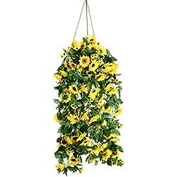 Artiflr Artificial Sunflower Garland Silk Flower Garland Each 61 Flowers Sunflower for Home Kitchen all Floral Decor,2 Pack