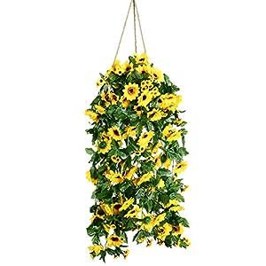 Artiflr Artificial Sunflower Garland Silk Flower Garland Each 61 Flowers Sunflower for Home Kitchen all Floral Decor,2 Pack 100