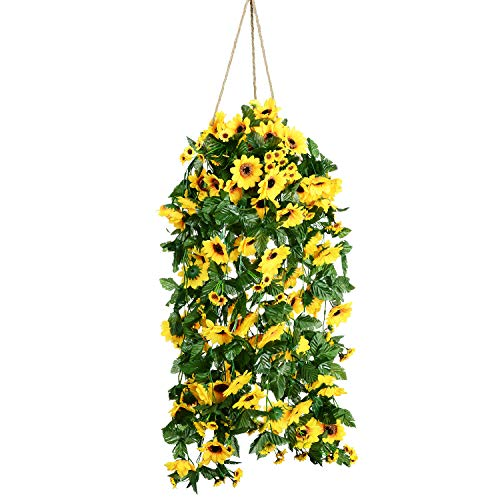 Artiflr Artificial Sunflower Garland Silk Flower Garland Each 61 Flowers Sunflower for Home Kitchen all Floral Decor,2 Pack