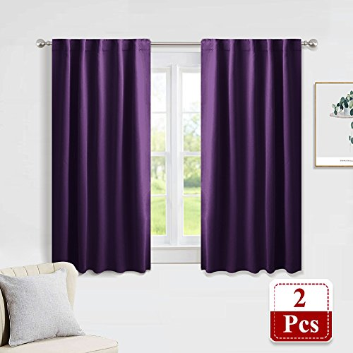 PONY DANCE Bedroom Blackout Curtains - Light Blocking Thermal Insulated Back Tab & Rod Pocket Curtain Drapes Window Coverings for Kids' Room, 42