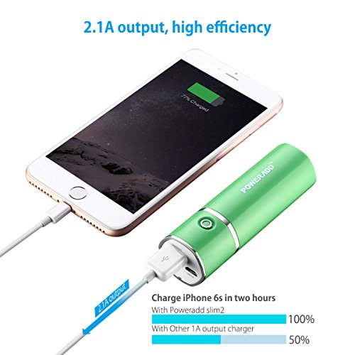 Poweradd Slim2 5000mAh mobile Charger potential Bank External Battery Pack for iPhone iPad Samsung and extra Green External Battery Packs