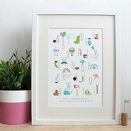 personalised handmade alphabet christening print personalised