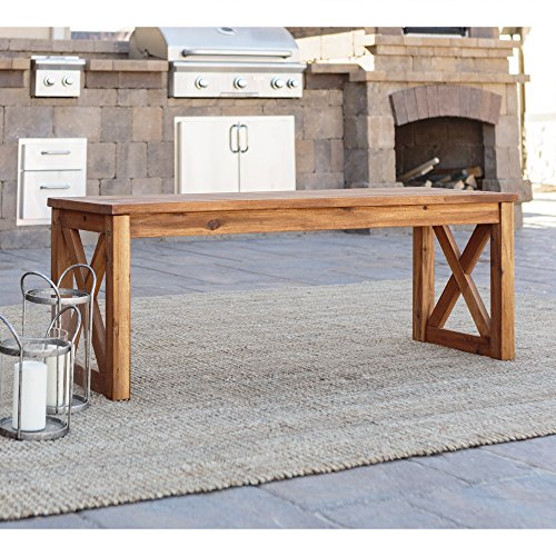 WE Furniture Acacia Wood X-Frame Outdoor Bench ()