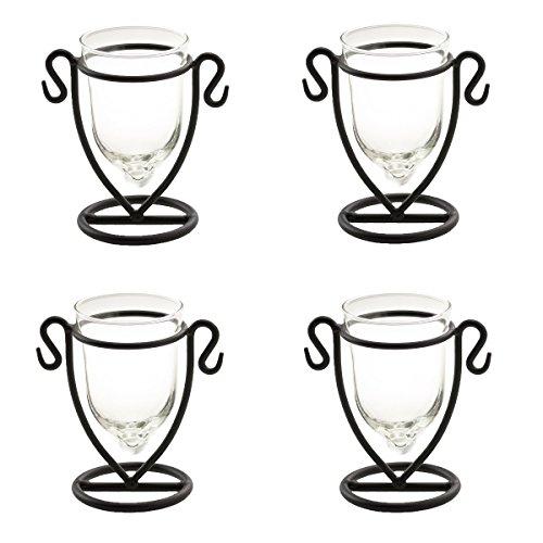 4 Domistyle Chateau Glass Tealight Candle Holder Set Black Metal Glass Tea Light (Iron Tealight Holder)