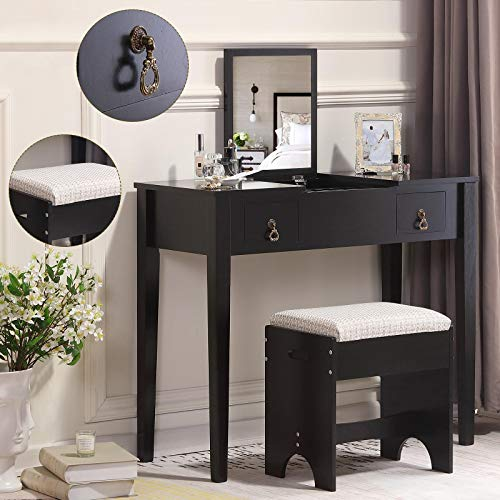Unihome Vanity Table with Flip Top Mirror and 2 Drawers Dressing Table with Stool Black Makeup Table for Women