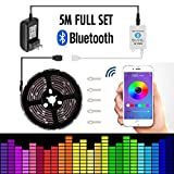 Led strip lights 16.4ft/5mNon-Waterproof LED Lights Kit5050 RGB Rope Lights With Bluetooth Smartphone APP Controller & 12V 3A Power Supply for ios and Android System
