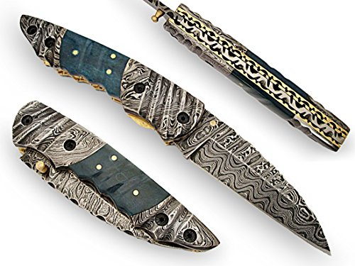 AishaTech Browning Hand Crafted Folding Knife Damascus Steel Blade and Bolsters Green Color Bone Handle For Sale