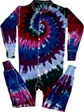 Tie Dyed Shop Cranberry Spiral Tie Dye Union Suit-Large-Multicolor