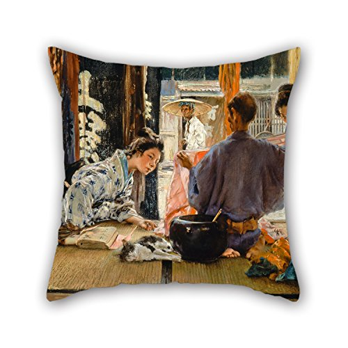 Pillow Covers Of Oil Painting Robert Frederick Blum - The Silk Merchant, Japan 18 X 18 Inches / 45 By 45 Cm,best Fit For Kids Boys,adults,gril Friend,bedding,car,wife 2 ()
