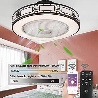 LED Ventilador De Techo Infantil,Ventiladores De Techos Con Iluminación Remoto Control Regulable Velocidad Del Viento Ajustable 80W Silenciosa Invisible Ventilador De Techo Sin Aspas,50cm(a): Amazon.es: Iluminación