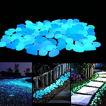 480pcs White Sunlight or LED Charge MOONSTONE Glow in The Dark Pebbles Rocks Great for Outdoor and Indoor D/écor Decorative Stones Garden Walkway Patio Yard Pool Fish Tank and Party DIY