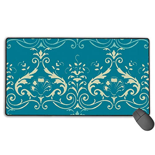 Brighton Damask ~ Trianon Cream and Chateau On Vicomte ~ Linen Luxe Extra-Large Lengthened Anti-Skid Rubber Base Computer Keyboard Soft Game Mouse Pad 15.7 X 29.5 Inches Larger
