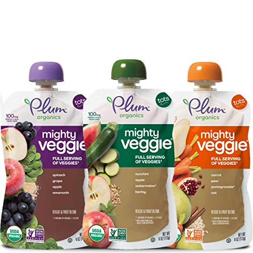 - Plum Organics Mighty Veggie, Organic Toddler Food, Variety Pack, 4 ounce pouch (Pack of 18)