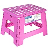Acko 9 Inches Pink Folding Step Stool with Anti-Slip Surface for Kids and Adults with Handle, Holds up to 250 LBS (Pink)