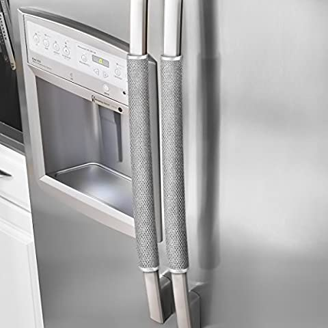 Ougar8 Refrigerator Door Handle Covers Protective Electrical kitchen Appliances Gloves Fridge Microwave Dishwasher Door Cloth Protector- Catches Drips,Smudges&Fingerprints Dust covers (Gray (Appliances)